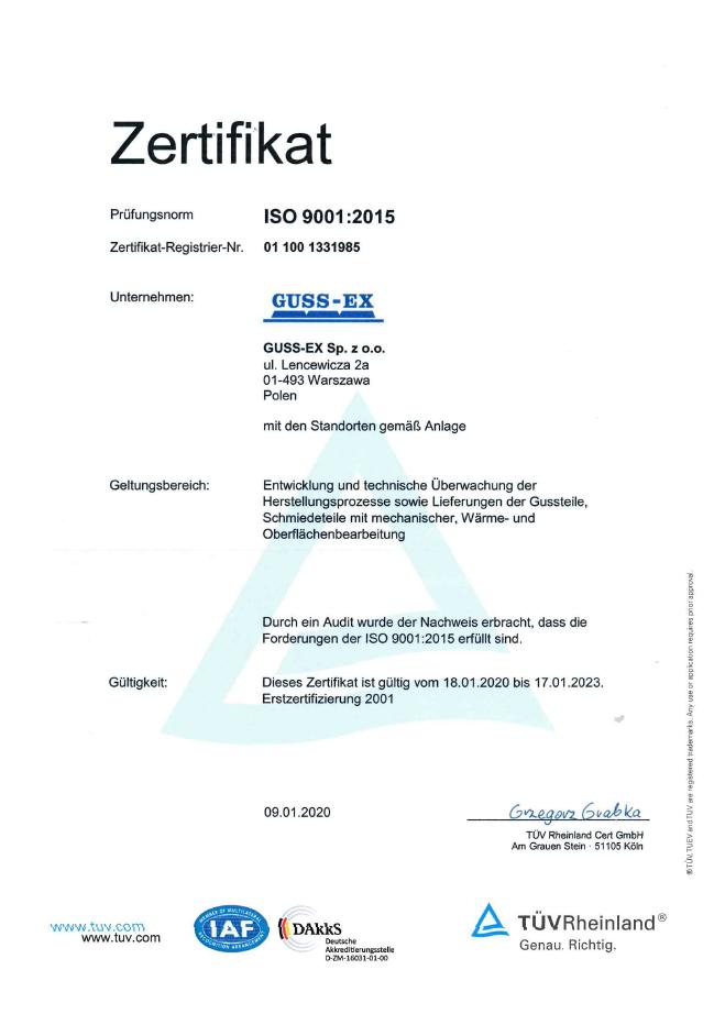 Certyfikat ISO 9001-2015 DE