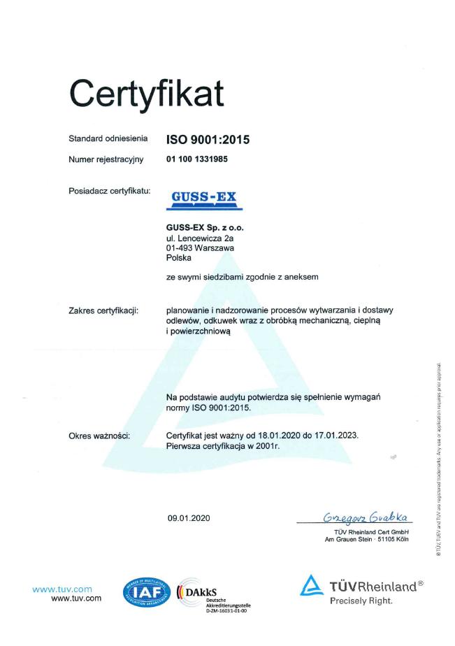 Certyfikat ISO 9001-2015 PL